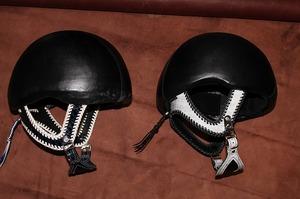 革 レザー ヘルメットカスタマイズ 競馬 レース用ヘルメット
